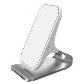 Incarcator aluminiu wireless Fast Charging 10W, iPhoneX, 8/8plus si Samsung S9, S8, S7, alb/argintiu