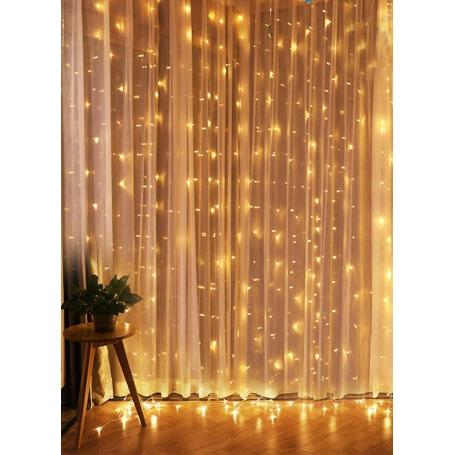 Instalatie luminoasa perdea, 300 LED-uri, 3M × 3M, 8 moduri Lumini, pentru interior, lumina calda