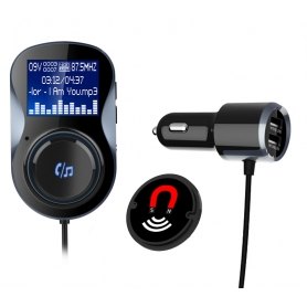 Modulator FM, Bluetooth, Wireless hands-free, LCD 1.44, MP3 player, FM kit, USB 2.4A pentru iPhone iPod iPad Samsung Huawei