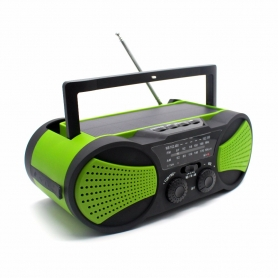 Radio portabil camping, calamitati naturale, incarcare solara, USB, powerbank 2000 mah, lanterna, survival kit - verde