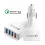 Incarcator auto 4 x USB, Qualcomm 3.0, Fast Charge, Alb