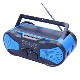 Radio portabil camping, calamitati naturale, incarcare solara, USB, powerbank 2000 mah, lanterna, survival kit - albastru