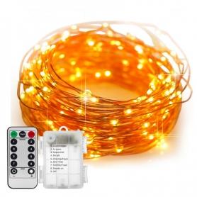 Ghirlanda instalatie luminoasa, 10M, 100 leduri, waterproof, 8 moduri de lumina cu telecomanda