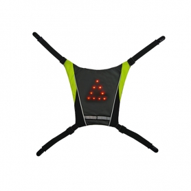 Mini Vesta reflectorizanta ciclism, alergare prindere rucsac cu semnalizare rutiera 10 LED-uri, unisex, negru