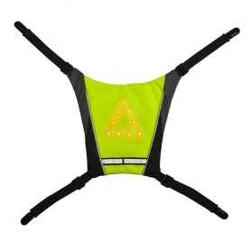 Mini Vesta reflectorizanta ciclism, alergare prindere rucsac cu semnalizare rutiera 10 LED-uri, unisex, verde