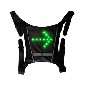 Vesta reflectorizanta ciclism, alergare prindere rucsac cu semnalizare rutiera 30 LED-uri si telecomanda wireless, unisex, negru