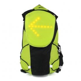 Rucsac reflectorizant ciclism, drumetie 5L cu semnalizare rutiera LED si telecomanda wireless, unisex, negru/verde