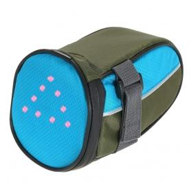 Portbagaj bicicleta pentru sa cu semnalizare rutiera LED si telecomanda wireless, albastru