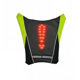 Vesta reflectorizanta ciclism, alergare prindere rucsac cu semnalizare rutiera LED si telecomanda wireless, unisex, negru