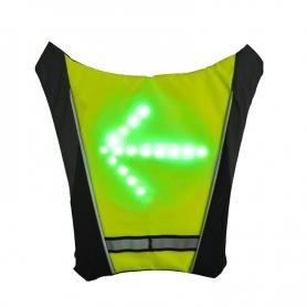 Vesta reflectorizanta ciclism, alergare prindere rucsac cu semnalizare rutiera LED si telecomanda wireless, unisex, verde