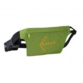 Borseta Alergare, Ciclism, Centura Alergare cu semnalizare rutiera LED si telecomanda wireless, unisex, verde