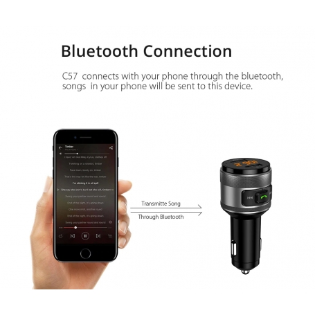 Modulator FM, Bluetooth 4.2, Hands Free, Quick Charge 3.0, MP3 player, USB audio player, Bluetooth, 2 x USB, QC3.0 Apple Android