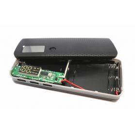 Carcasa pentru Power Bank cu 5 baterii acumulator  tip 18650 , cu  3 porturi USB, display LCD si  lanterna cu un led - negru/gri
