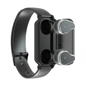 Casti wireless , T89, TWS, Bluetooth, bratara fitness, monitor ritm cardiac, negru
