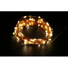 Instalatie luminoasa de interior LED, 100 led-uri  , pe snur din cupru, 10m, lumina calda
