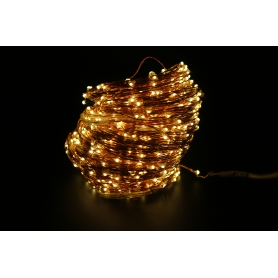 Instalatie luminoasa de interior LED, 1000 led-uri, pe snur din cupru, 100m, lumina calda