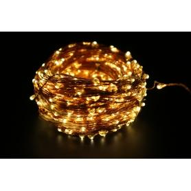 Instalatie luminoasa de interior LED, 100 led-uri  , pe snur din cupru, 60m, lumina calda
