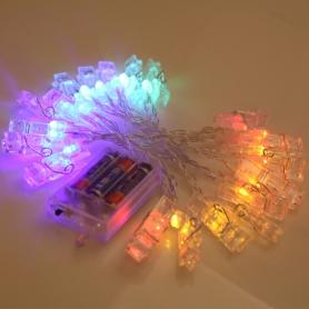 Decoratiuni clipsuri cu led multicolor ,  3 m 20 LED-uri, pentru fotografii perete, Craciun, petreceri