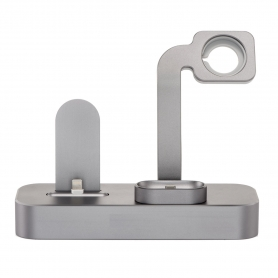 Incarcator aluminiu wireless, 3 in 1, multifunctional, pentru Iphone 8, X, 11, Android, Huawei, gri