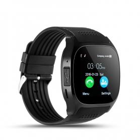 Smartwatch din silicon T8, alarma sedentara, notificari SMS/apeluri, calendar, pedometru, anti-pierdere, negru
