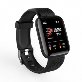 Bratara fitness PYRAMID® ID116 Pro, color, 1.3 inch, ip67, multi sport, puls, tensiune, notificari, control camera foto, negru