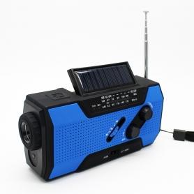 Radio camping, lampa LED, pentru kit calamitati naturale, cutremure, furtuni, cu dinam, albastru