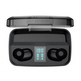 Casti bluetooth M13C TWS, 5.0, impermeabile, capacitate de reducere a zgomotului exterior, negru