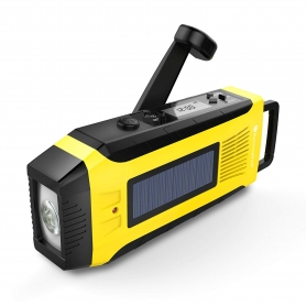 Radio camping, calamitati naturale, cutremure, furtuni, cu dinam, incarcare solara si priza, galben