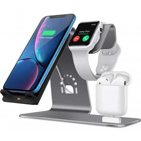Statie de incarcare wireless 3 in 1, Bestand, Airpods/iPhone X/ Xs/Xs Max/XR/8 Plus/ 8/Samsung Galaxy S10/S9/S9+, gri