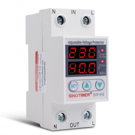 Releu digital de protectie tensiune, 1-40A, SVP-916, ecran dublu digital LED, SVP-916-40A