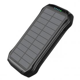 Powebank solar incarcare wireless QI, Fast Charge 10W, Pyramid®, 16000 mAh, baterie externa, lanterna, negru