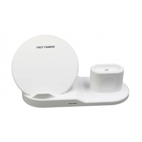 Statie de incarcare universala Fast Wireless Charger 3 in 1,  incarcare telefon, airpods si smartwatch, 1,67A, alb
