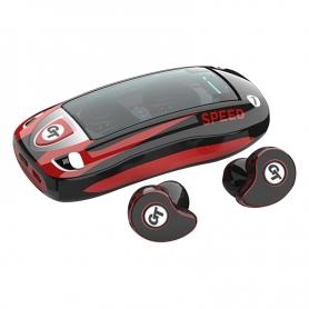 Casti Bluetooth TWS T911, wireless, cutie de incarcare, casti audio, muzicale, stereo, rosu