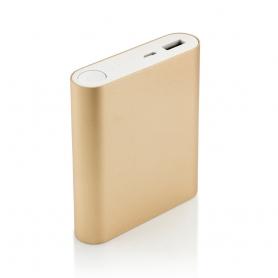 Carcasa de aluminiu pentru Power Bank DS7654 cu 4 baterii acumulator tip 18650 si un port USB, auriu