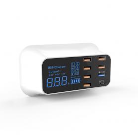 Incarcator cu 8 porturi USB, 1 port TIP C fast charge 3.0, PD, display LED, 40W,  SB34