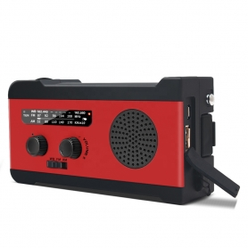 Radio camping portabil 2000 mAh, alerta sonora si luminoasa SOS, panou solar pentru incarcare, MD-055, rosu