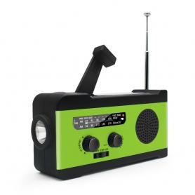 Radio camping portabil 2000 mAh, alerta sonora si luminoasa SOS, panou solar pentru incarcare, MD-055, verde