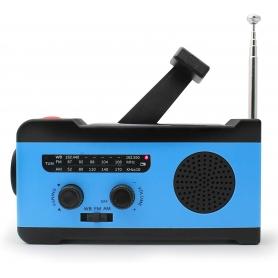 Radio camping portabil 2000 mAh, alerta sonora si luminoasa SOS, panou solar pentru incarcare, MD-055, albastru