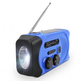 Radio portabil camping MD-088P, cu dinam, calamnitati naturale, 3 moduri de incarcare, AM/FM, albastru
