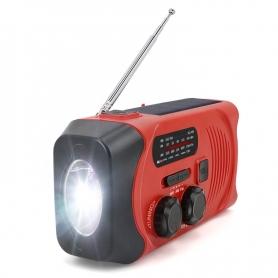 Radio portabil camping MD-088PLUS, cu dinam, calamnitati naturale, 3 moduri de incarcare, AM/FM, rosu