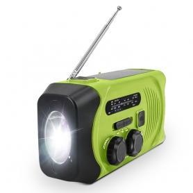Radio portabil camping MD-088PLUS, cu dinam, calamnitati naturale, 3 moduri de incarcare, AM/FM, verde