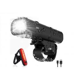 Faruri pentru bicicleta LED, impermeabile, incarcare prin USB, aprobare Stzvo, cu lumina pentru fata si pentru spate, STVZO01