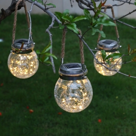 ghirlanda luminoasa 20 de leduri, 2m, glob din sticla cu franghie pentru atarnare, cu incarcare solara, lumina calda, IL-BL-01