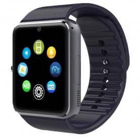 Ceas Smartwatch PYRAMID, aluminiu,  ecran tactil sport fitness tracker cu camera SIM Slot pentru card SD Pedometru GT08, negru