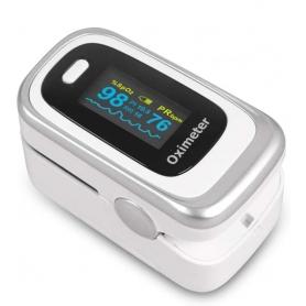 Pulsoximetru deget - Saturatie cu oxigen din sange , ritm respirator, monitor PI Sleep , contine husa rezistenta, alb, PULXS0X