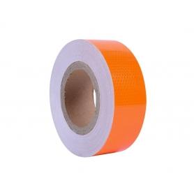 Banda reflectorizanta adeziva, continua, tip fagure, portocalie fluorescenta, BR 5cmx25m
