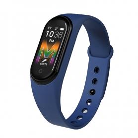 Bratata fitness M5P, functie telefon, notificari, monitorizare activitati, puls somn, oxigen, puls, albastru