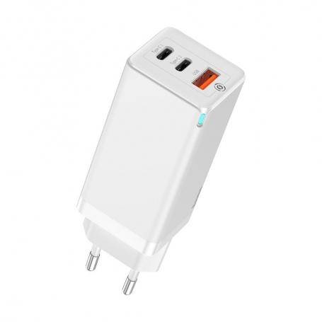 Incarcator Retea Baseus 3 Ports GaN 2 Quick Travel Charger Plug EU White