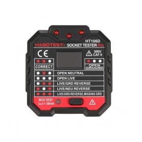 Tester priza Pyramid®, cu afisaj si indicator LED, 230VAC, izolatie dubla, certificat CE, HT106D
