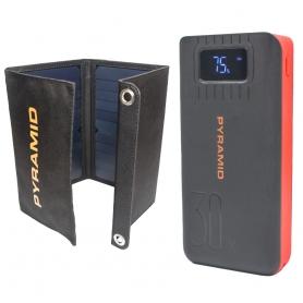 Kit camping si pescuit PYRAMID®, compus din Panou solar 20W cu 2 USB si Power Bank 30000 mAh cu 2 x USB, incarcare rapida
